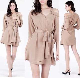 Drop Shoulder Wrap Dress in Sash