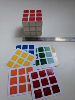 Rubik's Puzzle Cube easy spin with extra spare stickers