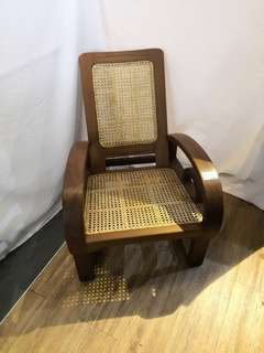 Teakwood and Rattan arm chair