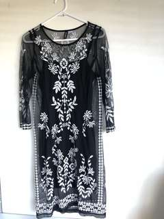 Black embroided dress
