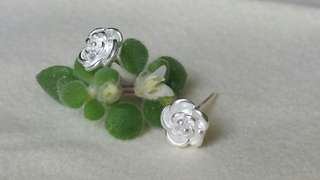Sterling silver in 3D floral earring S925