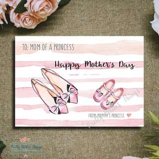 Handcrafted Watercolour Mother's Day Card - To Mom of a Princess