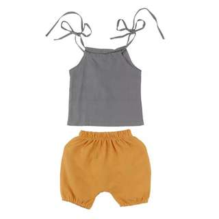 Grey spaghetti strap with comfy mustard yellow shorts