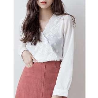 🚚 清新純色雛菊長袖棉衫