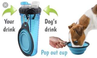2 in 1 pet water & treats bottle with portable bowl