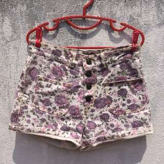 4 Pockets Button Up Floral Shorts