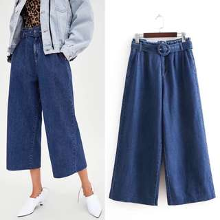 (30~40) Summer Europe and the United States high waist denim wide leg pants