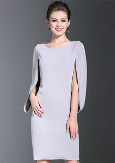 Formal: Grey Batwing Round Neck Slim Dress (S / M / L / XL / 2XL) - OA/DZE040126