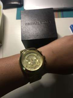Authentic MK gold large watch with box