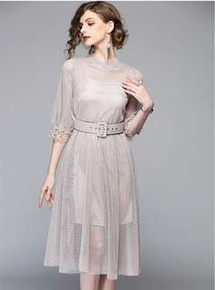 Short-Sleeve: Apricot Charming Gauze Transparent A-Line Dress (S / M / L / XL / 2XL) - OA/DZE032605