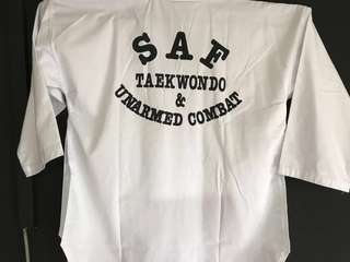 Rare SAF Taekwondo and Unarmed Combat Uniform (Top Plus Bottom) - No size indicated but between 170 to 180