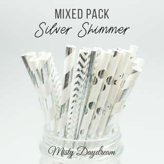 25pc SILVER SHIMMER Mixed Color Straws