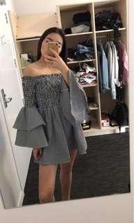 Ruffle sleeve off shoulder dress size s
