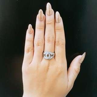 Cincin Silver Chanel Aksesoris Fashion Anti Karat