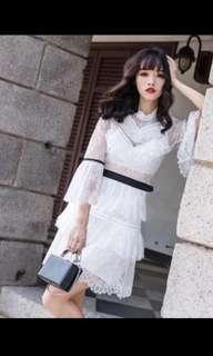 Ladies runway  white lace dress designer style