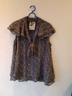 Mango paisley print blouse (L)