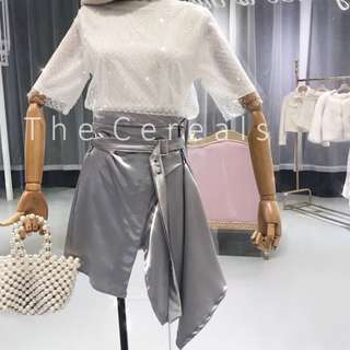 TC2196 Korea Glitter 2 In 1 Top + High Waist Silk Belted Irregular Skirt (Set)