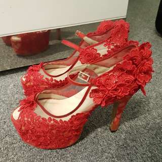 Jual heels merah 12cm size 38