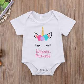 Instock - unicorn princess romper, baby infant toddler girl children cute glad 123456789 lalalalla
