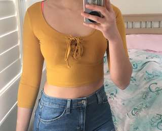 Forever 21 mustard yellow crop top