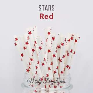 25pc RED STARS Straws