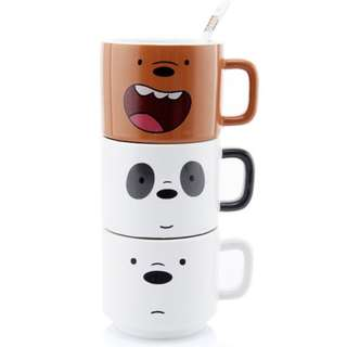 We Bare Bears Stackable Mug / Cup Set ( D1 )