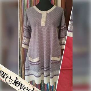Knitted winter tunic with 3/4th sleeves & pockets