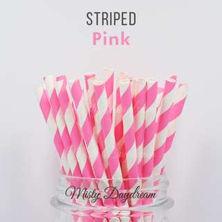 25pc PINK Striped Straws