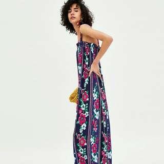 歐美時尚休閒渡假日韓系異國風情吉普賽西班牙撞色豔麗花卉印花吊帶連身長洋裝裙