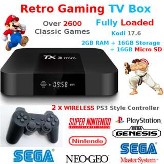 Retro Game TV BOX Kodi with 2 Wiressless Joypad NES SNES SEGA NEO GEO Over 2600 games