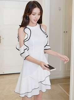 Formal: White Charming Flouncing Off Shoulder A-Line Dress (S / M / L / XL) - OA/YYE032514