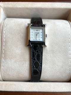 Hermes H hour watch/Mini size / with 11 Dias /Black croco strap