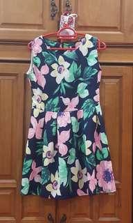 Dark Blue Floral Print Dress