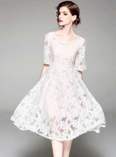 Formal: White Round Neck Lace Floral Short Sleeve Dress (S / M / L / XL) - OA/XKE032405