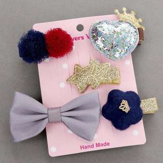 Instock - 5pc hair pins, baby infant toddler girl children glad cute 123456789 lalalalal