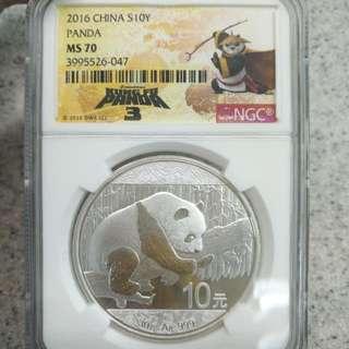 2016--中國熊貓30g銀幣--NCG認証MS70--滿分全美。