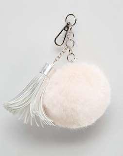 authentic skinnydip pale pink and pastel grey silver tassel fluffy pom pom bag charm keychain