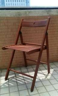 中古良品 IKEA TERJE 實木折疊椅 絕版紅褐色