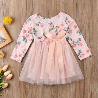Instock - pink floral dress, baby infant toddler girl children cute glad 123456789 lalalala