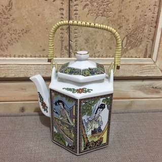 陶瓷 六面古仕女圖 茶壺