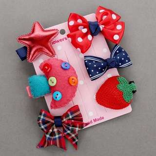 Instock - 6pc hair pins, baby infant toddler girl children cute glad 123456789 lalalala