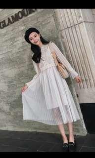 Ladies chiffon lace dress