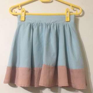 🚚 粉藍撞色拼接雪紡鬆緊短裙