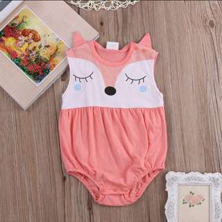 🦊Sweet Baby Fox Romper - Coral
