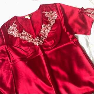 結婚上頭紅睡衣一套