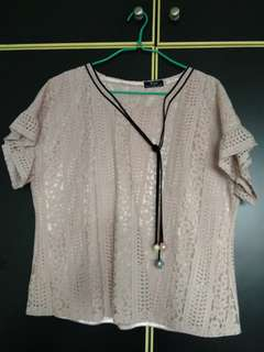 XXL/UK16 Pink Short Sleeve Lace Top