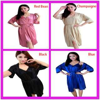 TCWK Sexy Woman Plus Size Rose Set Suit Satin Nightdress With 13 Colour S1026