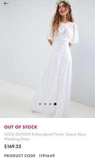 Asos flutter sleeve embroidery dress
