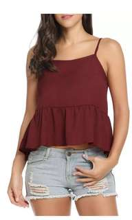 Maroon/ wine red babydoll cami