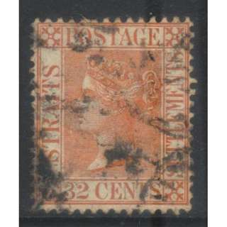 STRAITS SETTLEMENTS QV 32c 1883-1891 CROWN CA SG70 USED BL608